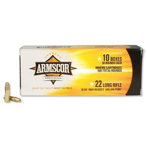 Armscor Rimfire Ammunition .22LR 36 gr HVHP 1247 fps 50/ct