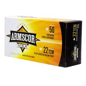Advanced Tactical Firearms Armscor Nickel Plated Ammunition .22TCM 40 gr JHP 50/ct