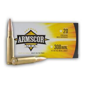 Armscor Rifle Ammunition .308 Win 147gr FMJ 2700 fps 20/ct