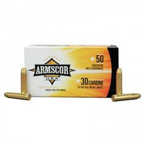 Armscor Rifle Ammunition .30 Carbine 110 gr FMJ 1915 fps 50/ct