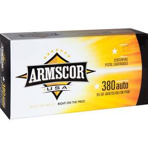 Armscor Handgun Ammunition .380 ACP 95 gr JHP 933 fps 20/ct