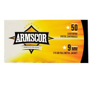 Armscor Handgun Ammunition 9mm Luger 115 gr FMJ 1097 fps 50/ct