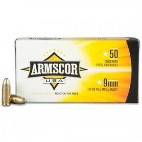 Armscor Handgun Ammunition 9mm Luger 124 gr FMJ 1090 fps 50/ct