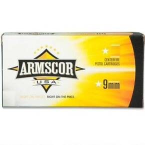 Armscor Handgun Ammunition 9mm Luger 147 gr FMJ 850 fps 50/ct