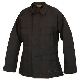 Tru-Spec BDU Coat - 6.5 oz. 65/35 Vat Dyed Polyester Cotton Rip-Stop Black Small