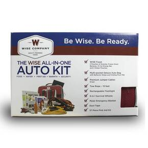 Wise Car Vehicle Emergency Survival Kit with Jumper Cables & Food