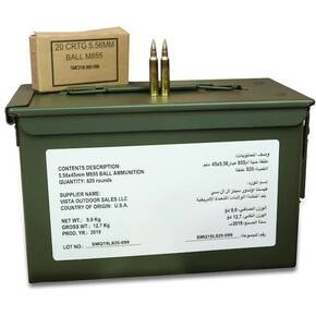 Federal XM855 Green Tip 5.56 mm 62 gr FMJ-BT 3160 fps 820/ct Ammo Can