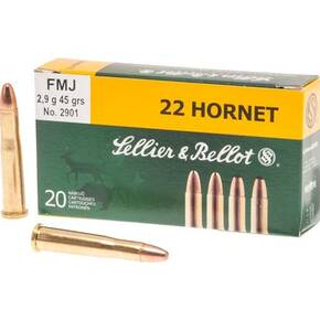Sellier & Bellot Rifle Ammunition .22 Hornet 45 gr FMJ 2345 fps 20/ct