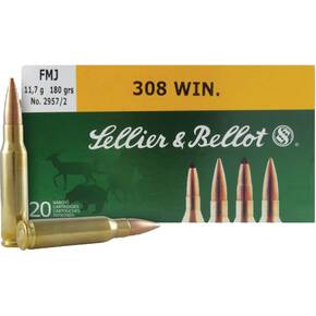 Sellier & Bellot Rifle Ammunition .308 Win 180 gr FMJ  - 20/box