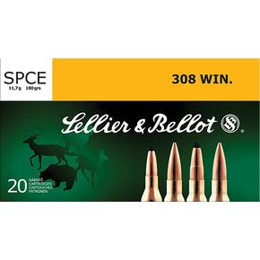 Sellier & Bellot Rifle Ammunition .308 Win 180 gr SPCE  - 20/box