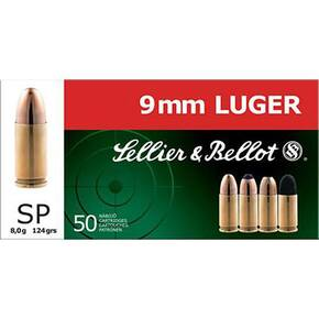 Sellier & Bellot Pistol & Revolver Ammo 9mm 124 gr SP 50/box